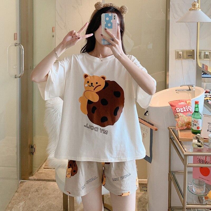 Women Pajamas Sets Cartoon Cotton Bear Print Pattern Pajamas ShortSleeve Homewear Sleepwear Loose Pijamas Female 2