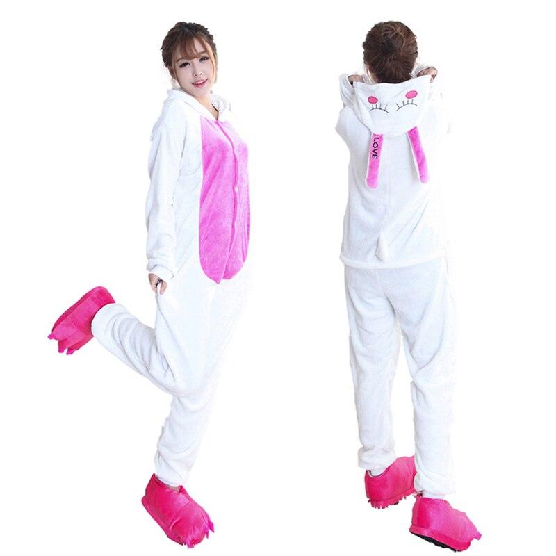 Kigurumis Women Pajamas Onesies Kawaii Rabbit Flannel Homewear One Piece carnival Sleepwear Clothing Pajama Party Costume 4