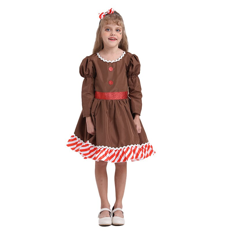 New Christmas 2020 Children Clothes Dress Gingerbread man Cosplay Kids Girls Festival Party Dresses One Piece Newyear Costume 2