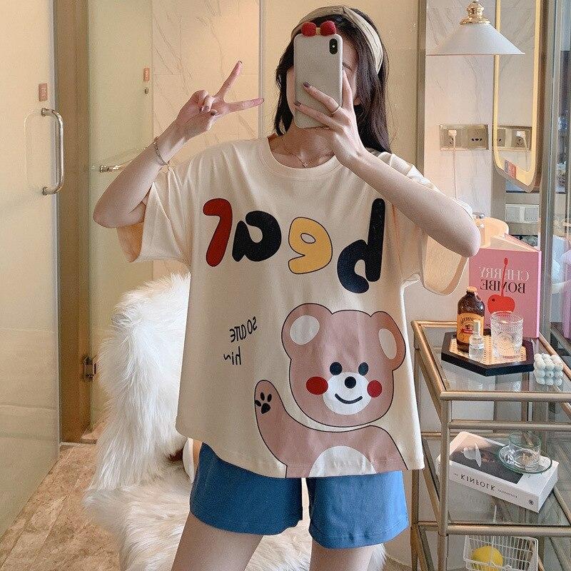 Women Pajamas Sets Cartoon Cotton Bear Print Pattern Pajamas ShortSleeve Homewear Sleepwear Loose Pijamas Female 6