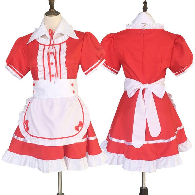 Maid Costume Japanese Anime Cosplay Sweet Classic Lolita Fancy Apron Maid Dress with Socks Gloves Set 4