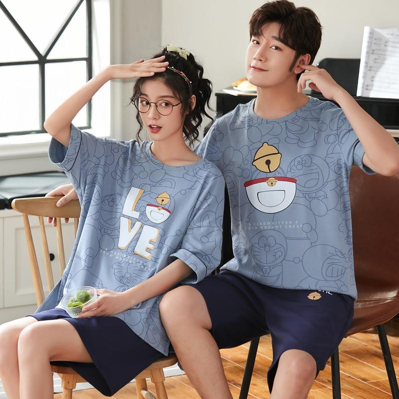 Couple pajamas Sets Women Men Cartoon Cotton Doraemon ShortSleeve Two-piece Pajamas Homewear Sleepwear Loose Pijamas 2Pcs 1