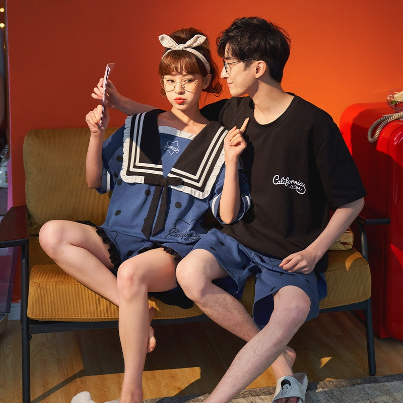 Couples Pajamas Set Women Men Cartoon Pyjamas Short Sleeve Summer Sleepwear Homewear Pijama LooseKorean Lovers Nightgowns 1