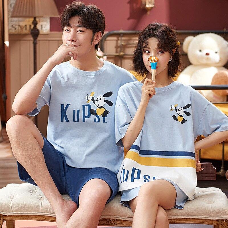 Cartoon Women Couples Pajamas Set Men Summer Pyjamas Short Sleeve Sleepwear Homewear Pijama Femme Nightgowns Nightwear XXXL 2