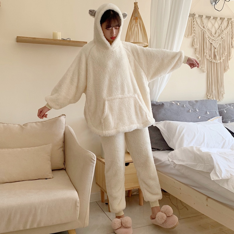 Thicken Pijama Women Pajama Set Cute Bear's ear CoralFleece Winter sleepwear Pyjamas Femme Loose Two-piece Nightwear 1