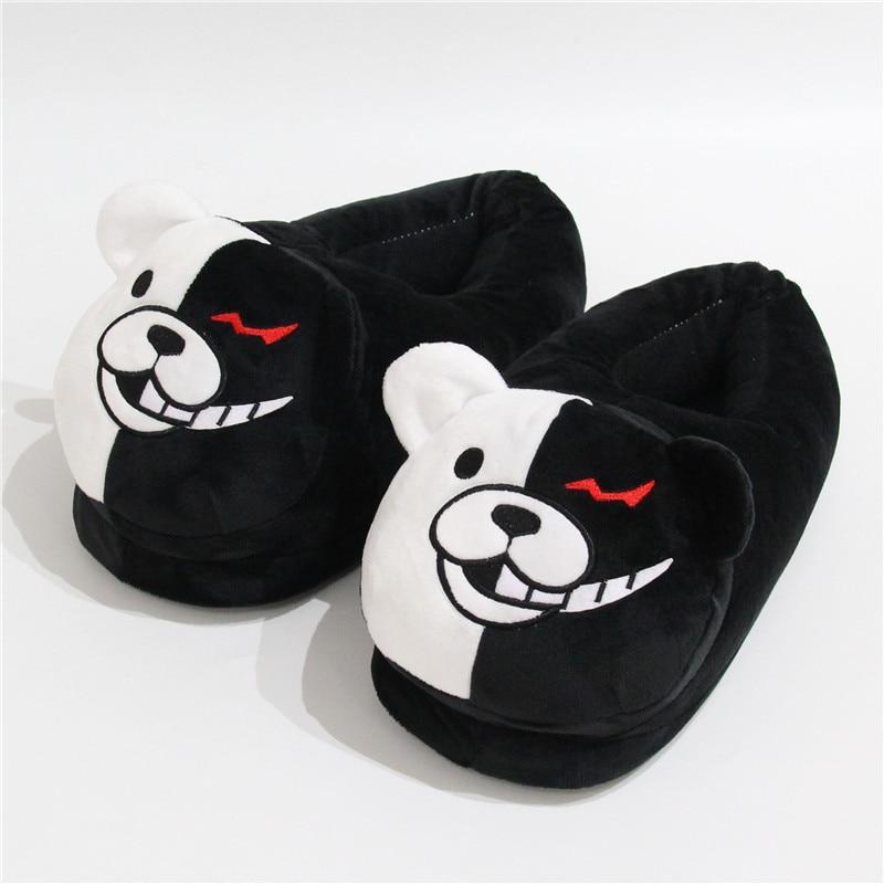 2021 Plush Slippers Women Men Monokuma Kigurumis Black White Anime Bear HomeShoes Cartoon Cute House Slipper 2